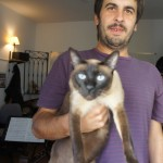 Fede Siksnys and Ruben the cat